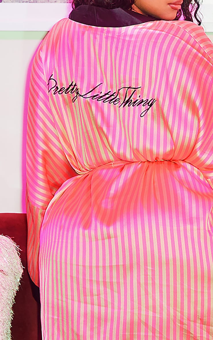 PRETTYLITTLETHING Plus Pink Stripe Satin Robe 6