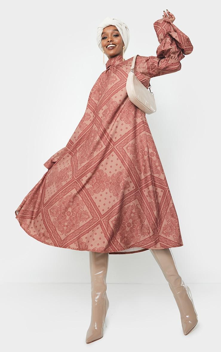 Rust Printed High Neck Puff Sleeve Dress 1