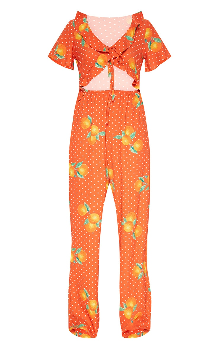 Orange Polka Dot Short Sleeve Frill Tie Front Jumpsuit 3