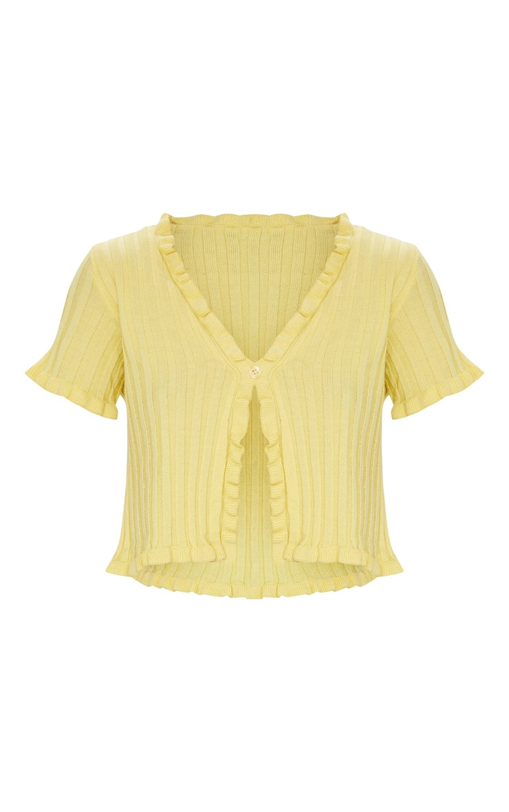 Yellow Frill Edge Cropped Rib Cardigan 5