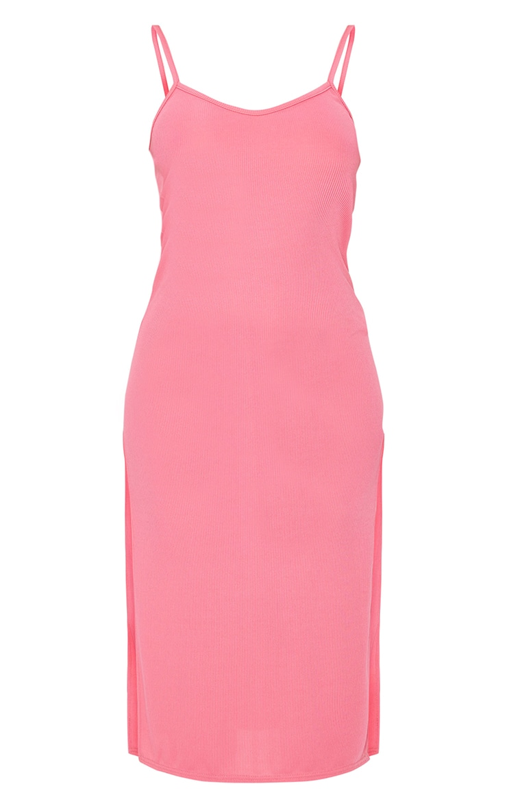 Coral Rib Split Cami Midi Dress 5