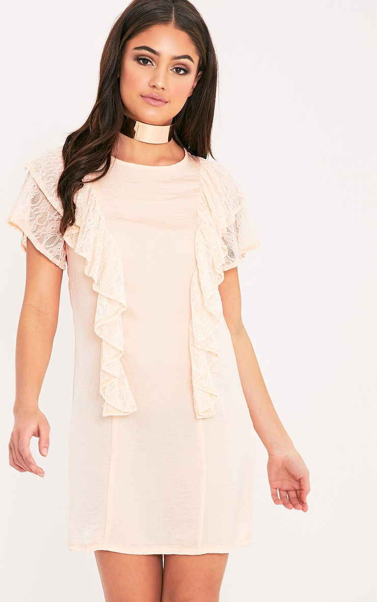 Melyssa Blush Lace Trim Shift Dress 1