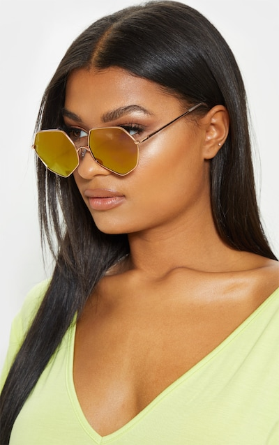 ab7ad38786df Gold Frame Lilac Revo Hexagon Sunglasses