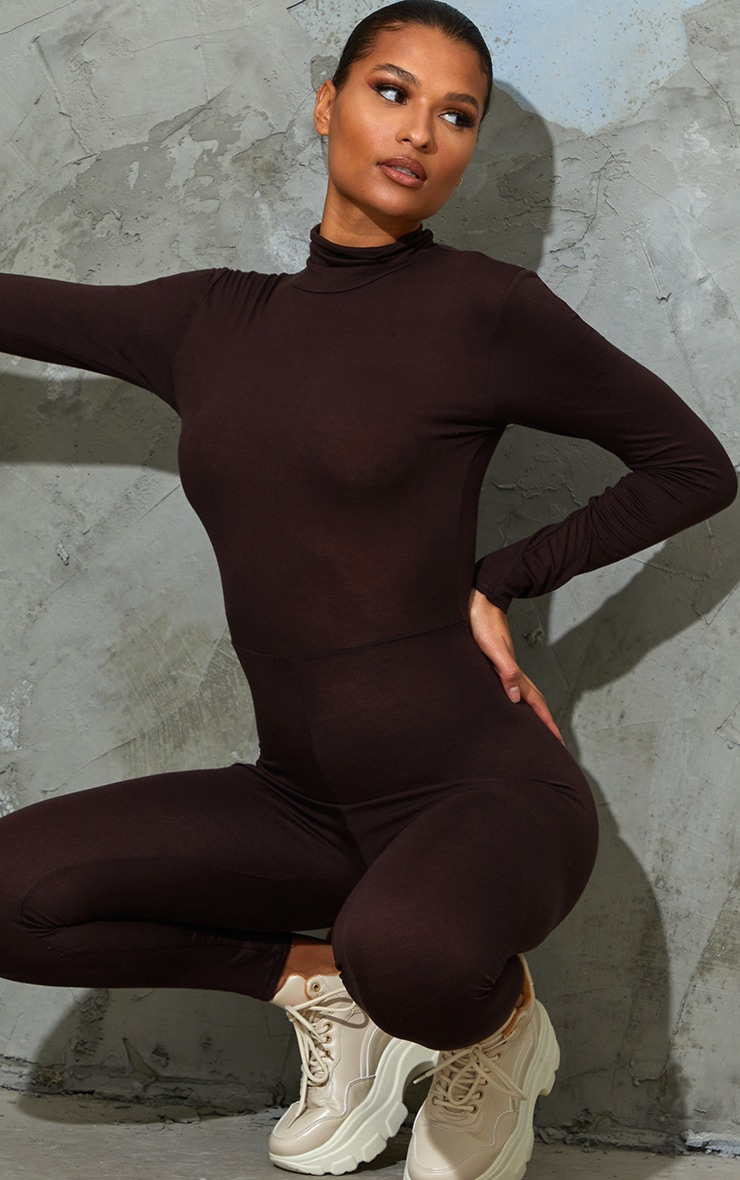 Chocolate Roll Neck Long Sleeve Jumpsuit 4