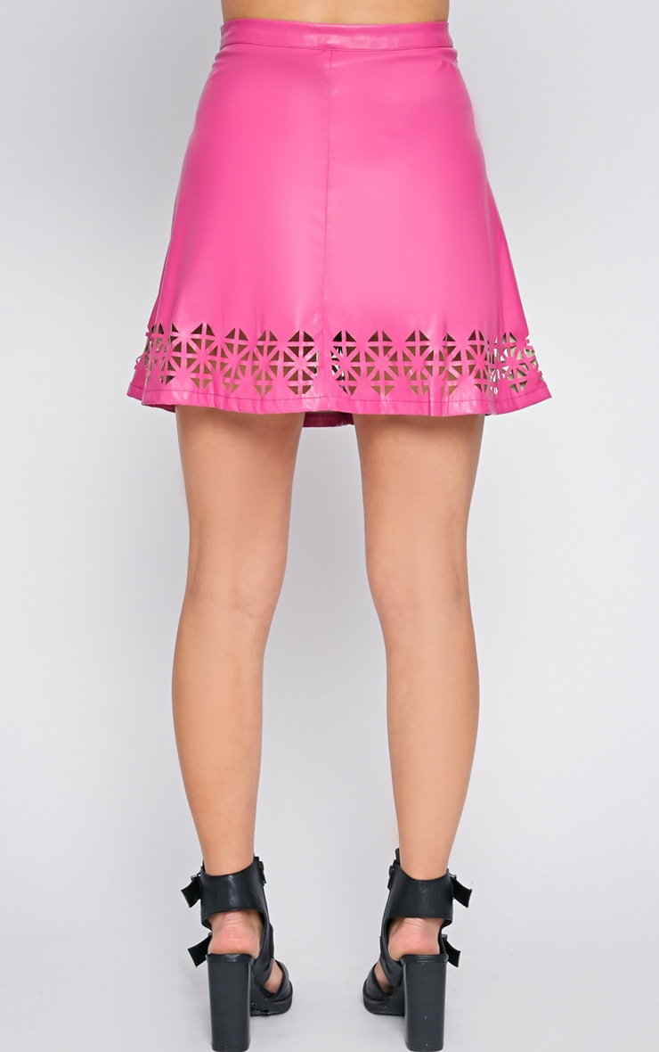 Amiya Pink Cut Out Leather Skater Skirt  2
