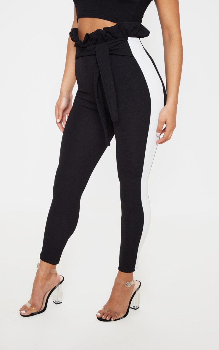 Black Side Stripe Paperbag Skinny Trousers 2