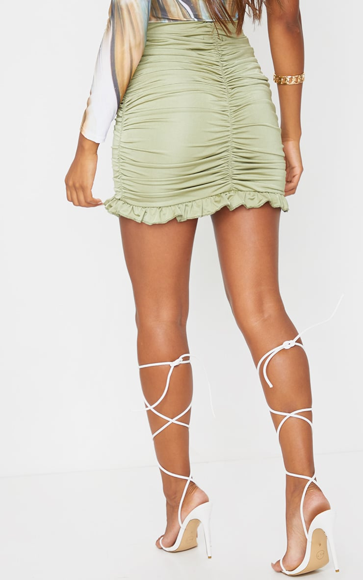 Sage Slinky Ruched Frill Hem Mini Skirt 3