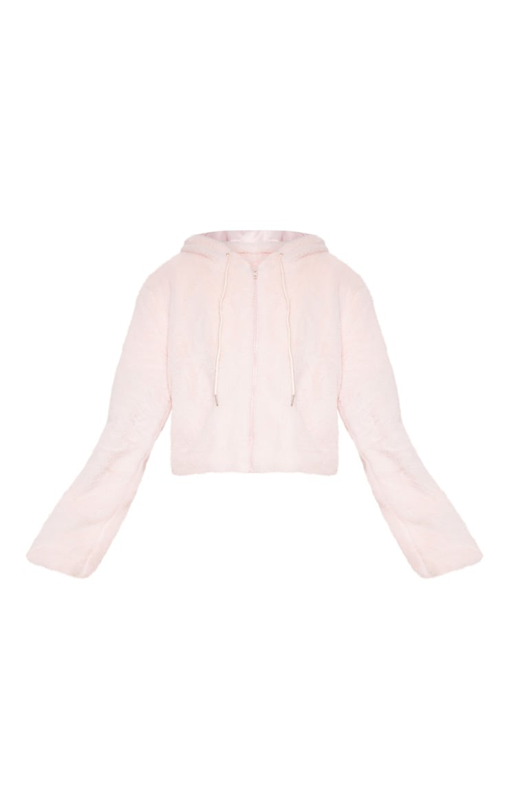 Pink Faux Fur Cropped Hooded Jacket  3