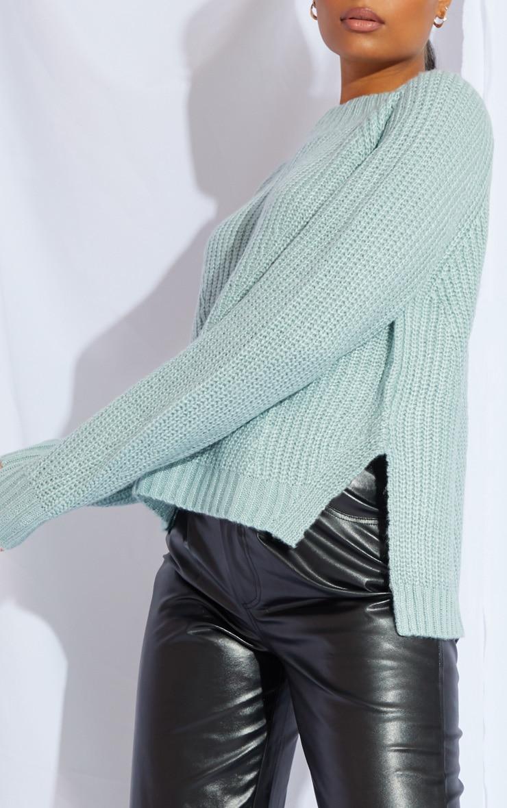 Mint Soft Knit Balloon Sleeve Funnel Neck Sweater 4