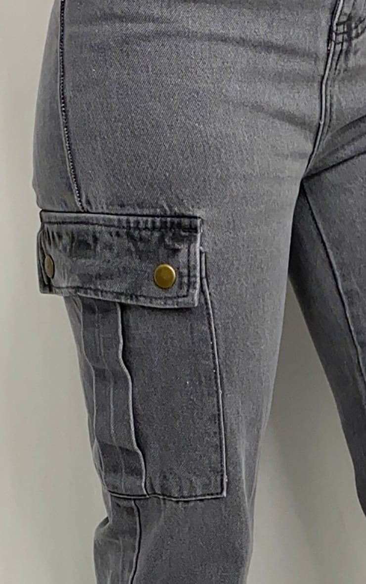 Washed Grey Cargo Pocket Asymmetric Belt Boyfriend Jeans 4