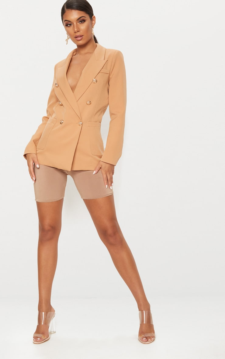 Pari Camel Double Breasted Military Blazer 4