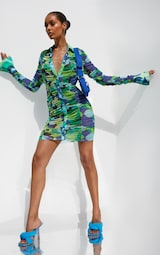 Green Abstract Print Mesh Ruched Oversized Cuff Shirt Dress 3