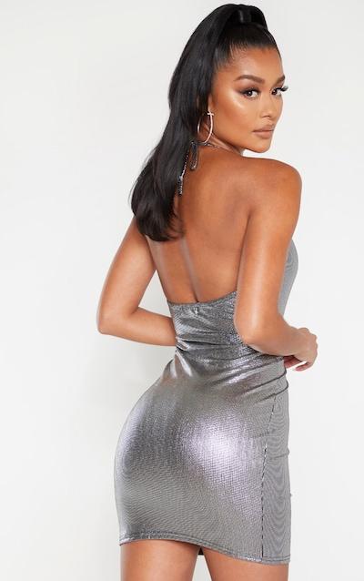Silver Metallic Halterneck Bodycon Dress