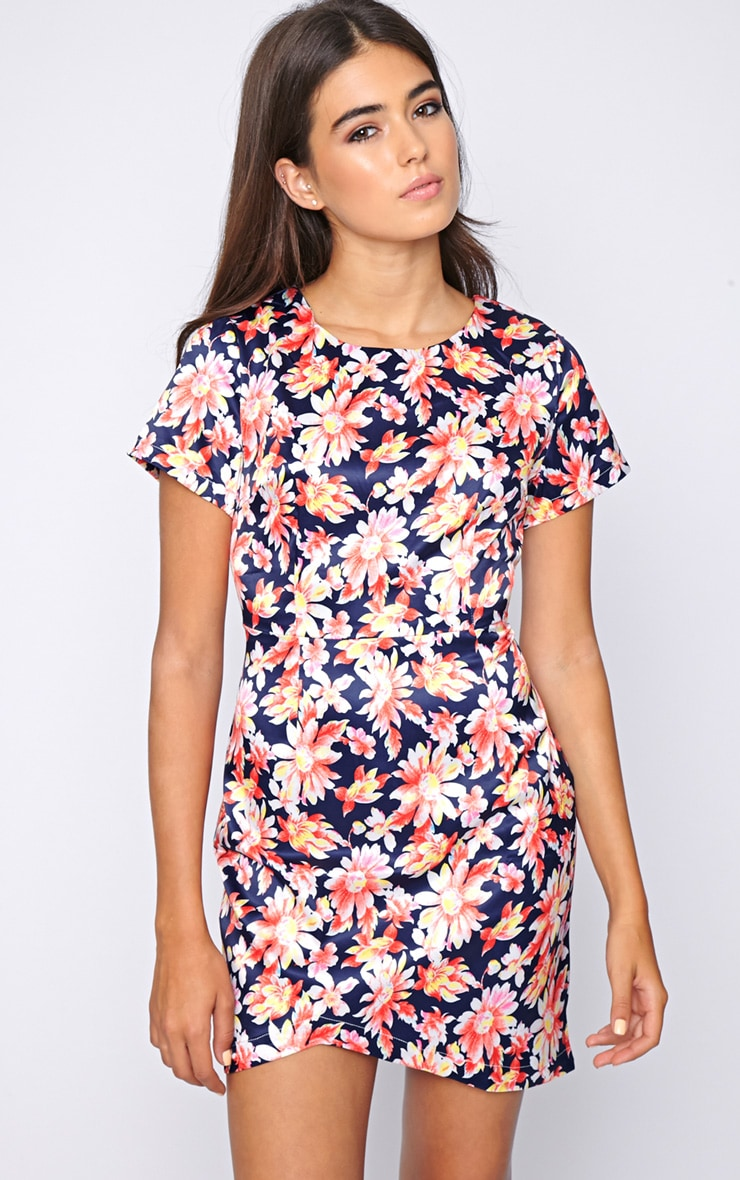 Kierra Floral Satin Shift Dress 4