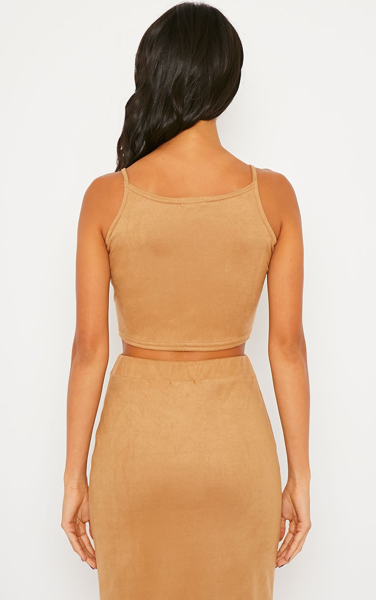 Amanda Camel Suede Crop Top 2
