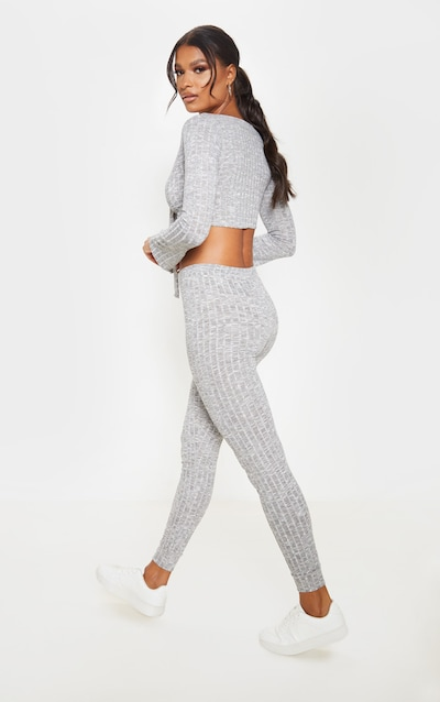 Grey Tie Front Crop And Jogger Lounge Set