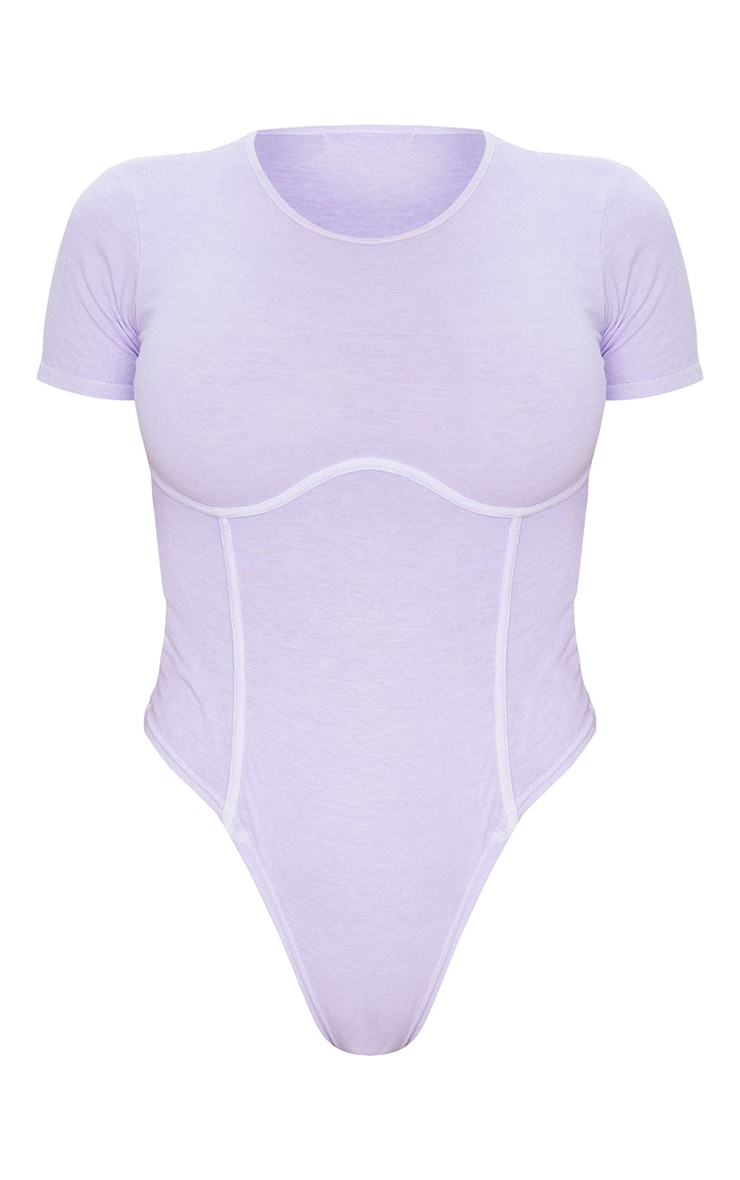 Shape Lilac Cotton Binding Detail Short Sleeve Bodysuit 5