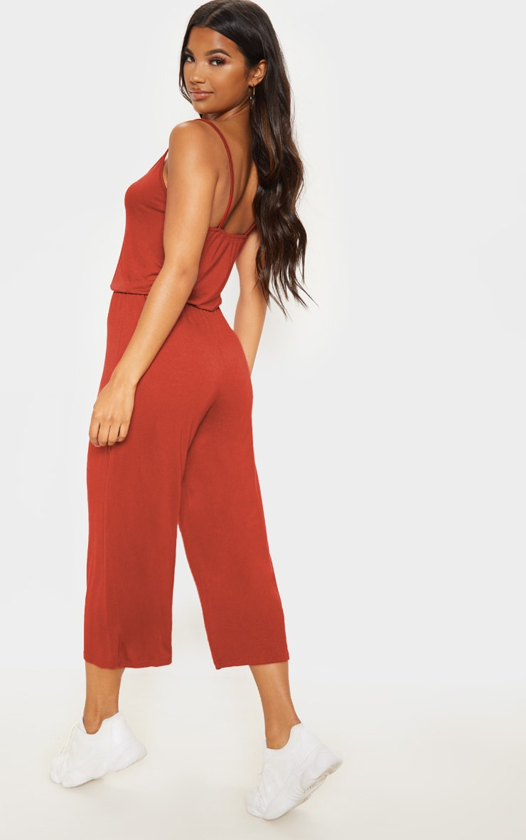 Rust Strappy Jersey Culotte Jumpsuit 2