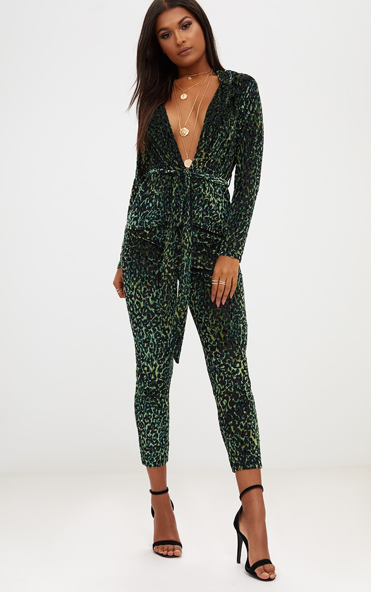 Green Velvet Leopard Belted Blazer  4