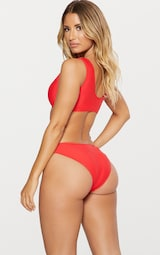 6b4da5a9b88 Red Under Bust Cut Out Swimsuit | PrettyLittleThing