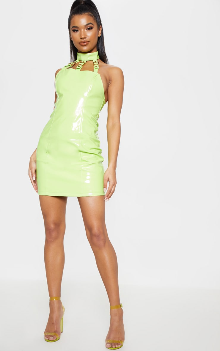 Neon Lime Vinyl Buckle Detail Bodycon Dress 4