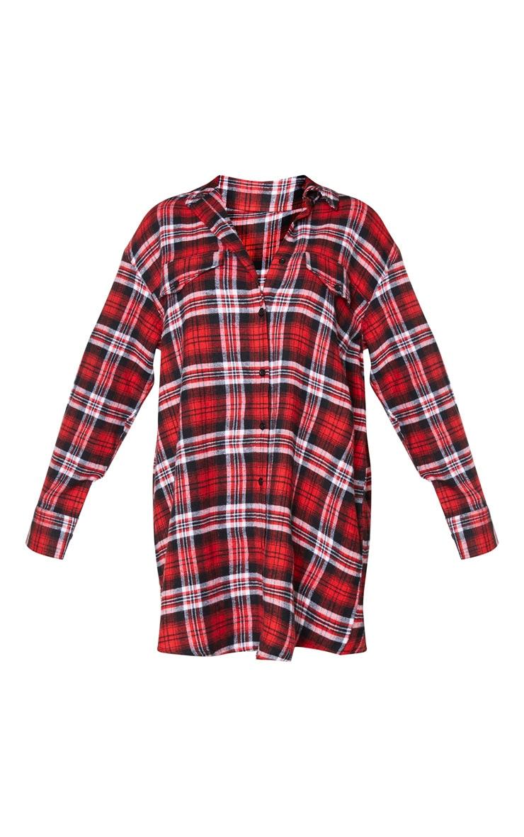 Red Check Print Pocket Detail Shirt Dress 5