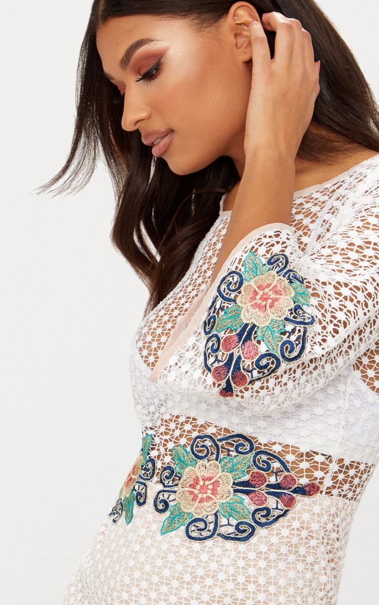 White Crochet Lace Embroidered Playsuit 5
