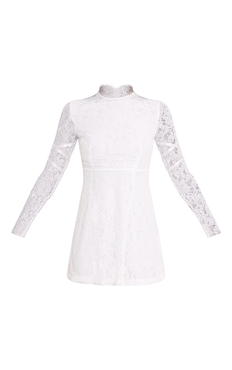 Jamie White Lace High Neck Skater Dress 3
