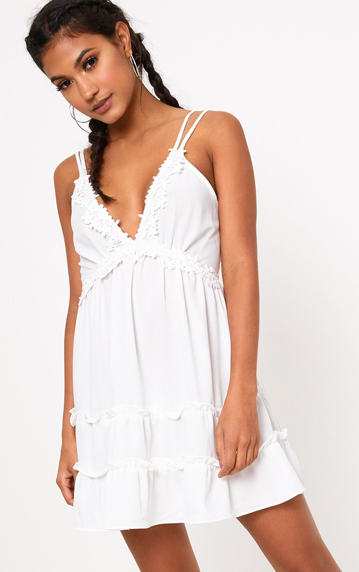 White Floral Trim Strappy Swing Dress 1