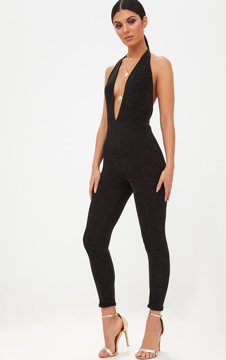 Black/Gold Lurex Plunge Jumpsuit 4