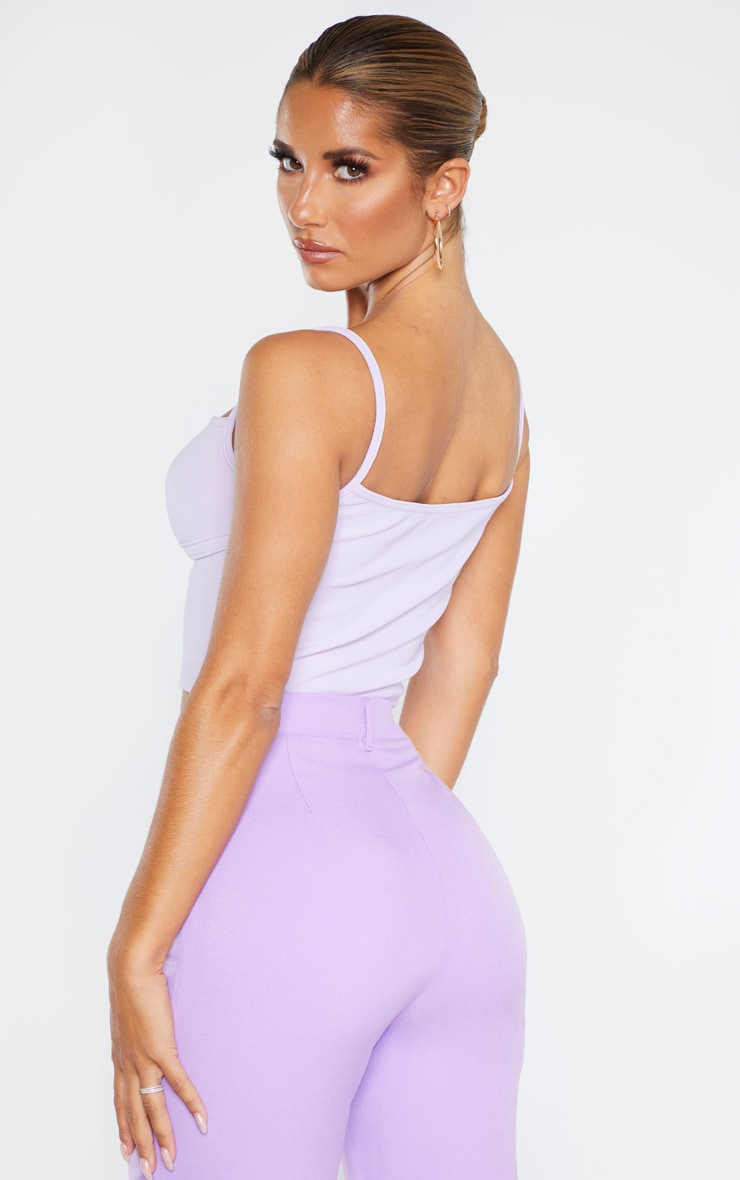 Lilac Bustier Detail Rib Crop Top 2