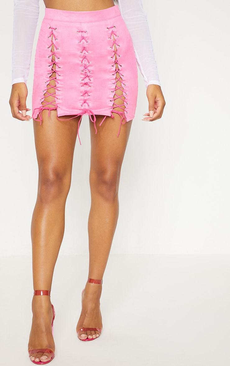 Hot Pink Faux Suede Lace Up Detail Mini Skirt 3