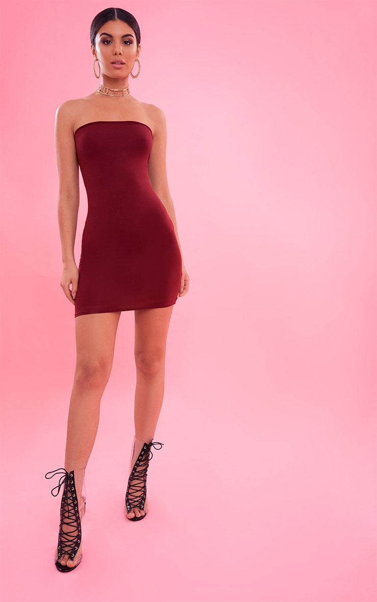 Burgundy Bandeau Bodycon Dress 5