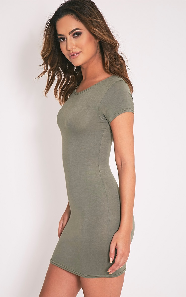 Basic Khaki Jersey Dress 4