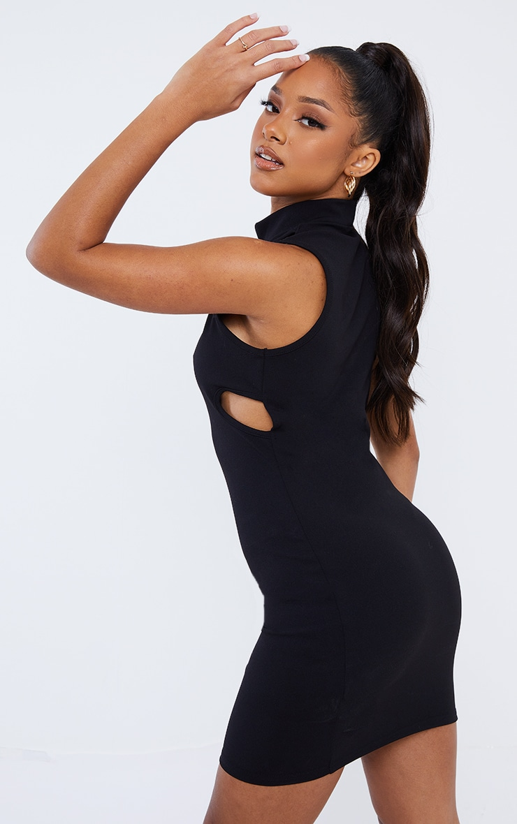 Black Sleeveless High Neck Cut Out Detail Bodycon Dress 2