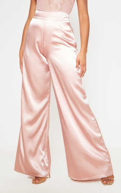Blush Satin Wide Leg Trouser