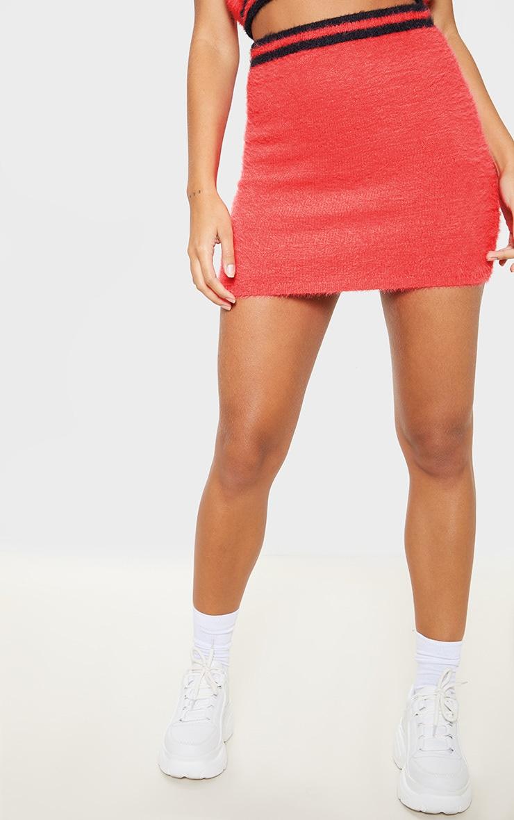 Coral Eyelash Knitted Skirt  2