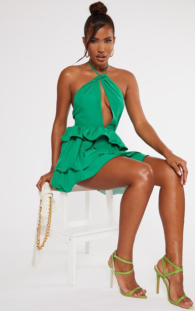 Bright Green Printed Tiered Skirt Halterneck Skater Dress 1