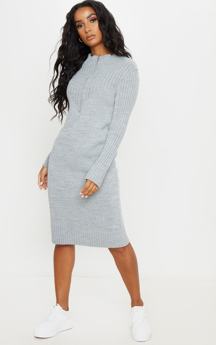 Grey Zip Front Knitted Jumper Dress 1