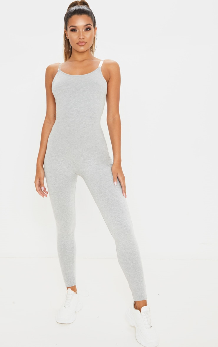 Grey Seamless Cotton Strappy Jumpsuit 1