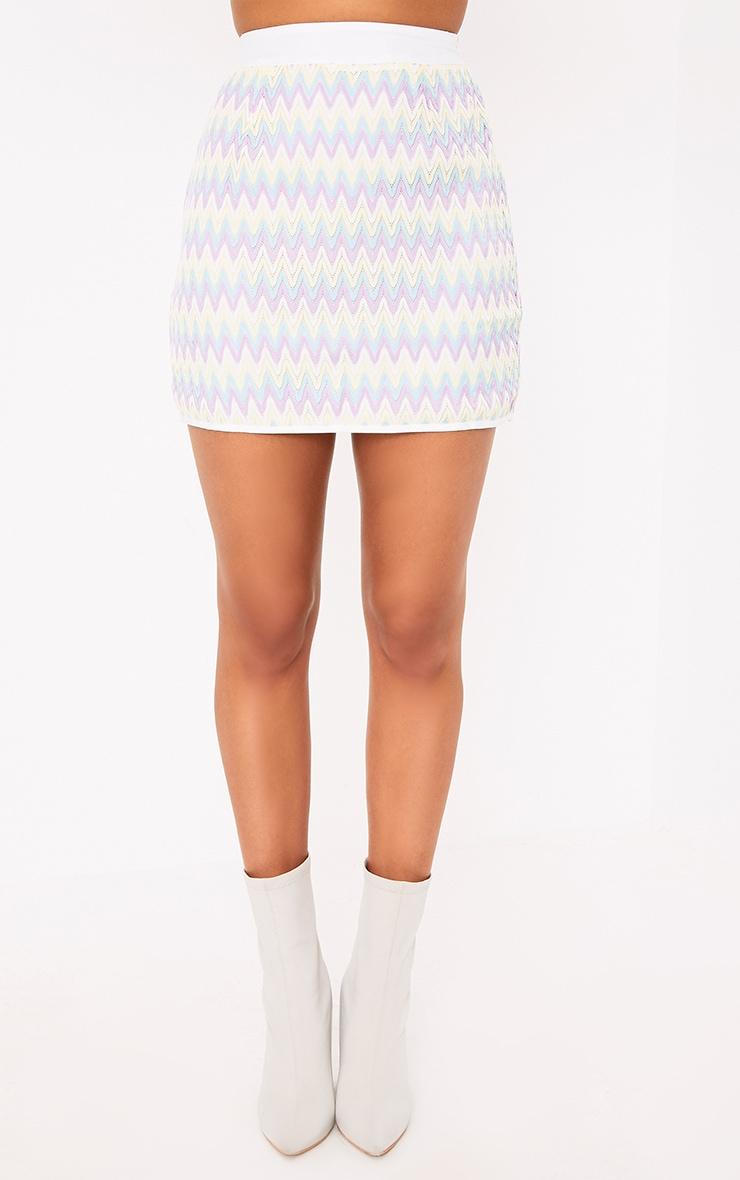 Amette Lilac Chevron Mini Skirt  2