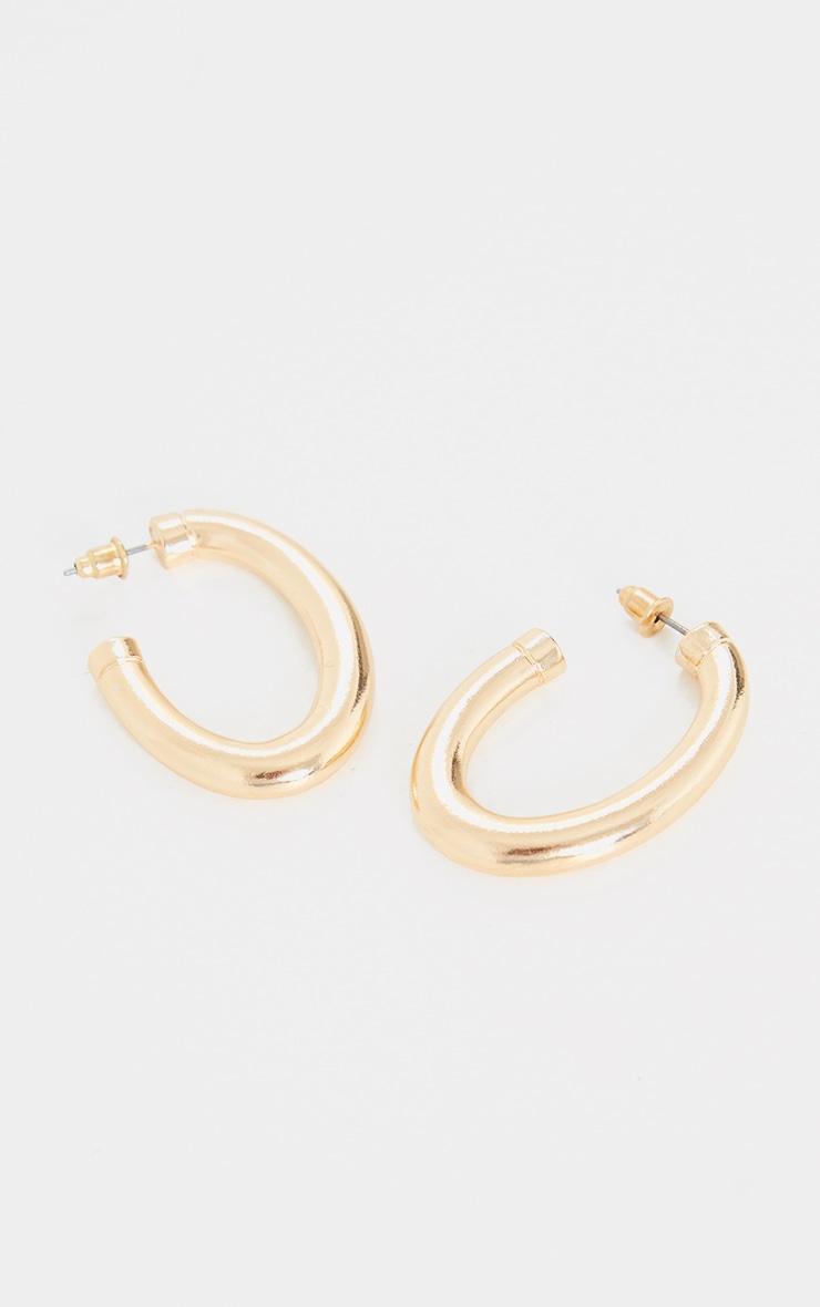 Gold Chunky Oval Hoop Earrings 3