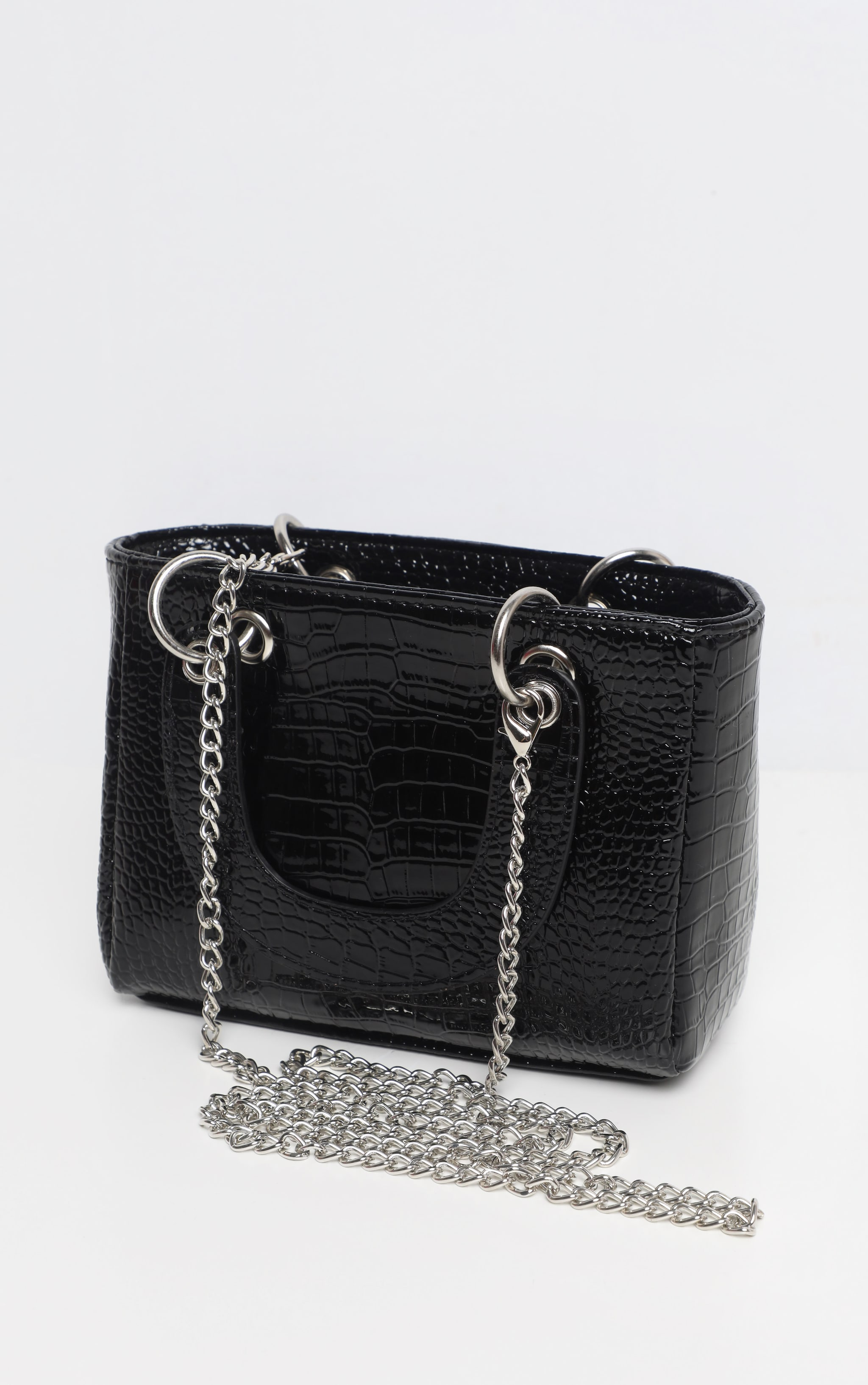Black Patent Croc Ring Detail Mini Handbag 3