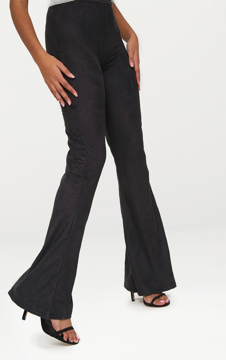 Petite Black Suedette Flared Trousers 5