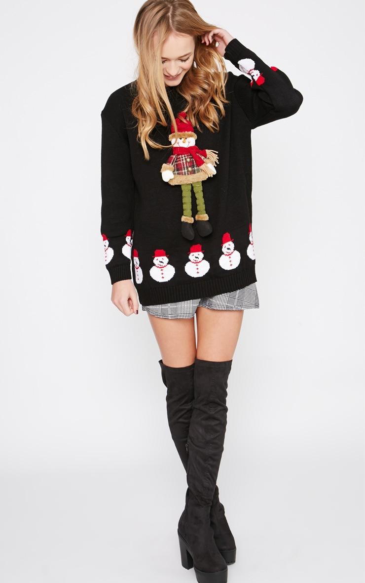 Kara Black 3D Snowman Toy Christmas Jumper  5