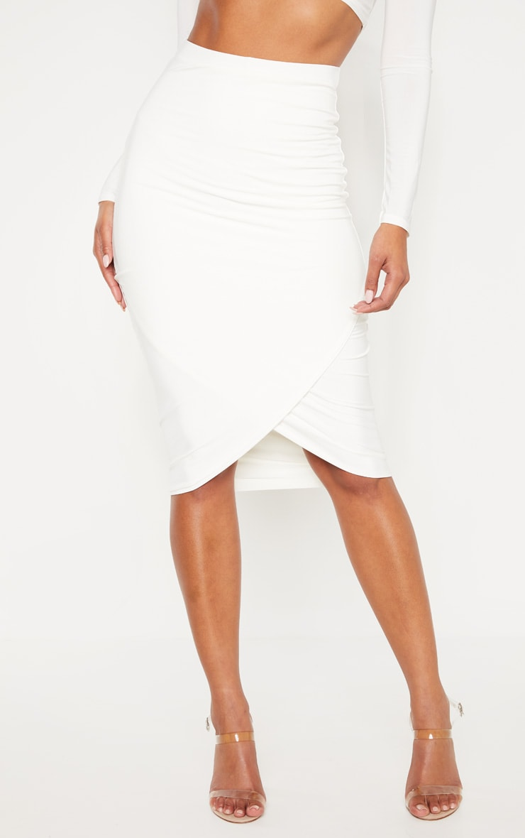 Cream Slinky Wrap Detail Midi Skirt 2