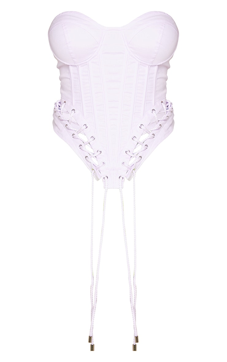 Shape Lilac  Rope Detail Lace Up Curved Hem Corset 5