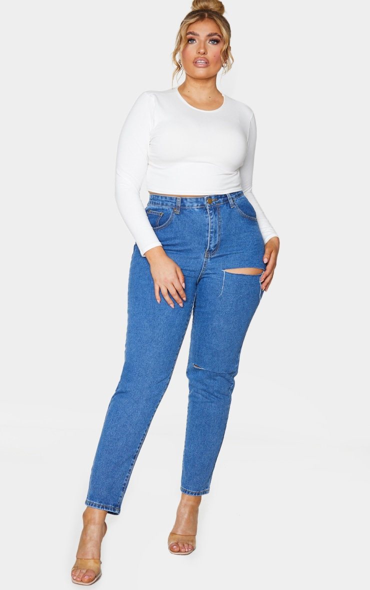 Plus Mid Blue Washed Slit Detail Straight Leg Jeans 1
