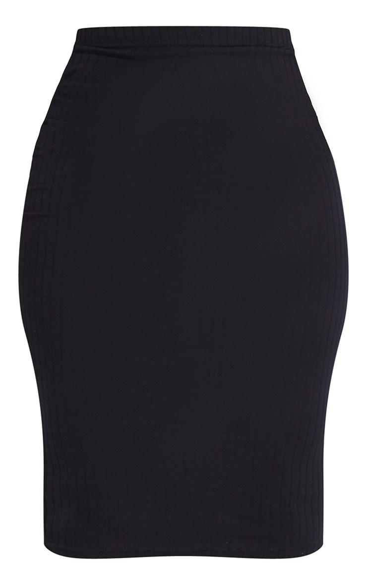 Shape Black Rib High Waist Midi Skirt 5