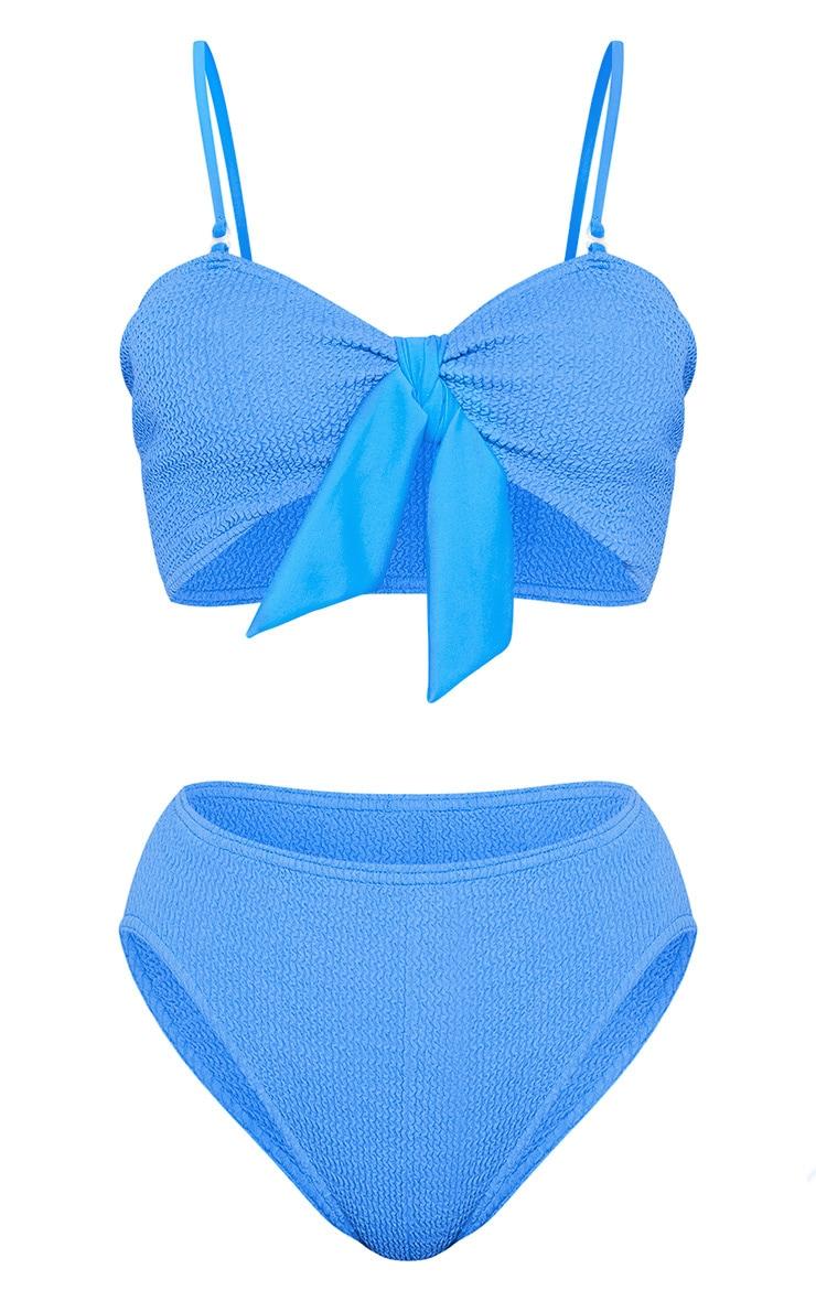 Blue Crinkle Bow Bikini Top 3